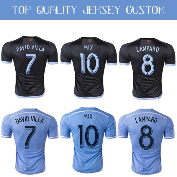 New York City FC 15-16 Soccer Jersey, 2016 PIRLO DAVID VILLA LAMPARD Home Sky Blue Away Black Football shrit NYCFC MIX Jersey(China (Mainland))