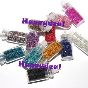 12 Color Tiny Bottle Set Caviar Nails Decoration Circle Bead Decoration 3D DIY Colorful Beads Nail Decoration Free Shipping(China (Mainland))