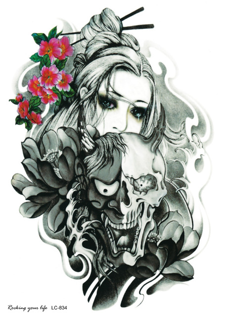 LC2834 21*15cm Body Arm Tattoo Sticker Halloween Horror Skull Ghost Crying Girl Designs Temporary Tattoo Terrorist Skeleton