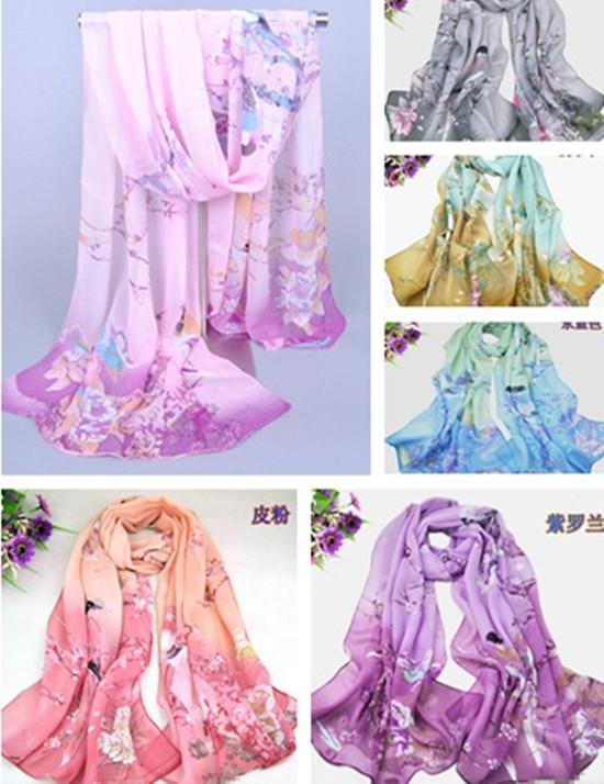 New 2015 Women's Printed Flower Soft Silk Chiffon Neck Scarf Wrap Shawl Stole(China (Mainland))