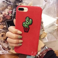 Kerzzil Fashion Creative Cartoon embroidery Cactus soft Case For iPhone 7 6 6S Plus Cloth velvet Phone Cover Back qian(China (Mainland))