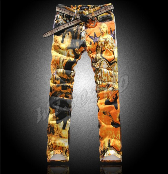 2014 Men's jeans colored drawing jeans slim flower elastic pants personalized holy Mary print denim jeans Free shipping YY099(China (Mainland))