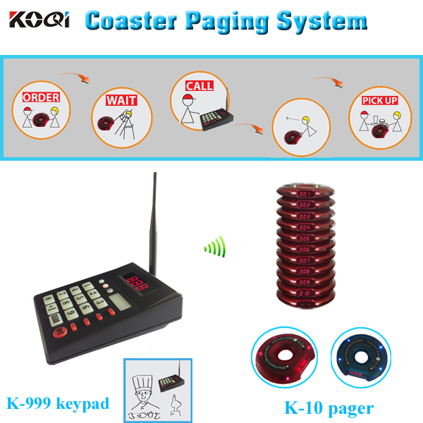 Guest Paging System Fast food Restaurant coaster pagers K-999 K-10 wireless restaurant paging system(China (Mainland))