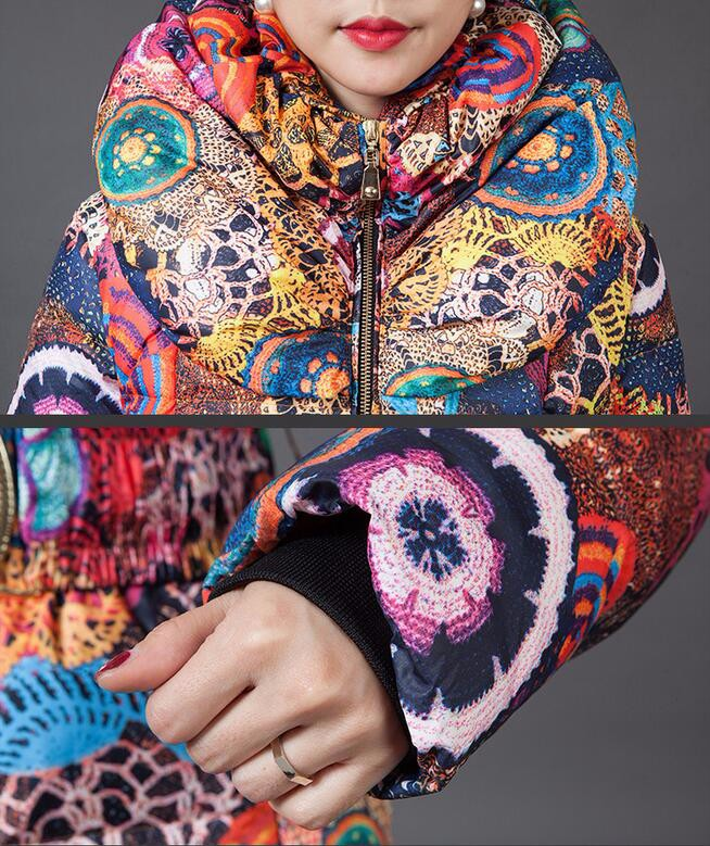Скидки на Женщины Вниз Парки Длинный Толстый Зимний Цветочной Моды Пальто Женщин Вниз куртка для Женщин Одежда Толстые Outerwears Плюс Размер