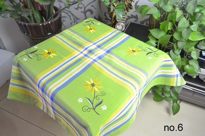 hot sale decorative embroidered tablecloth polyester/cotton yarn-dyed tablecloth plaid vintage table cloth 85X85CM(China (Mainland))