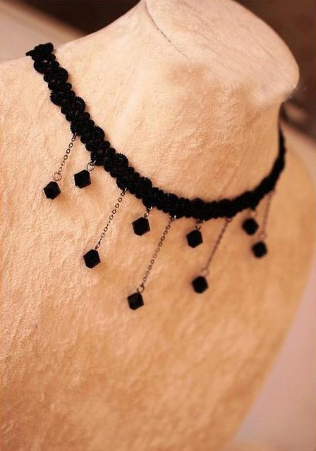 Min order $10(Mix order)2013 Fashion Statement Chunky Vintage Crystal Necklace Aristocratic Ladies Black Lolita Jewelry-NA0050