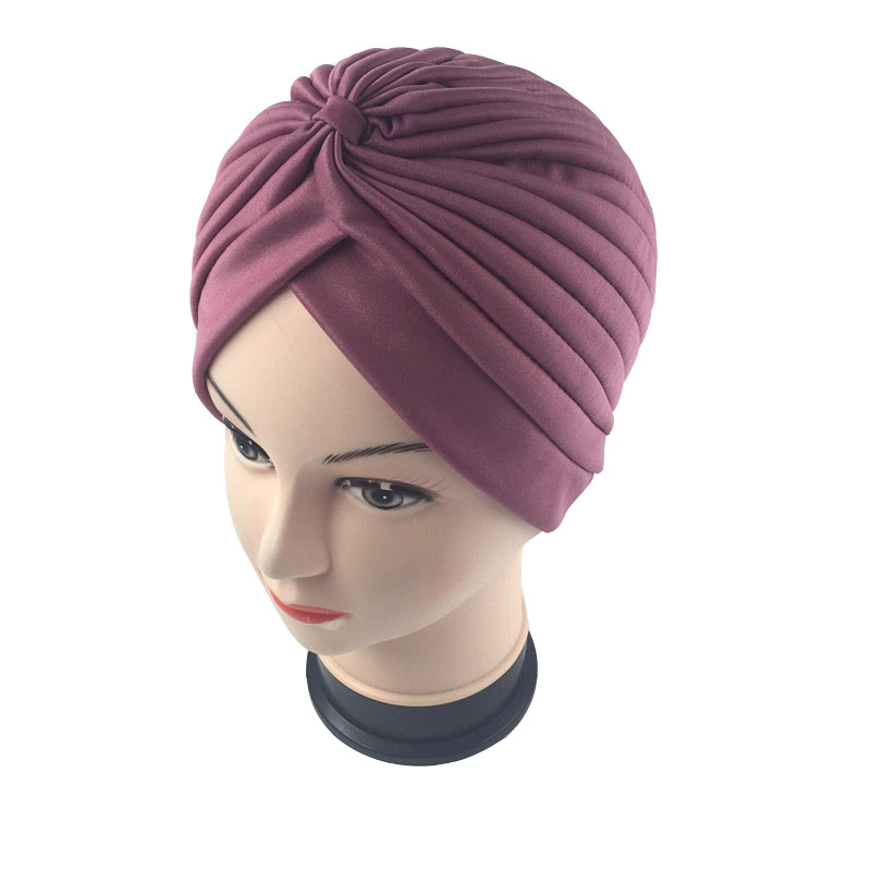 18 color Solid Muslim Turban Cap Women Elastic Beanies Hat Bandanas Big Satin Bonnet Indian Women Turban(China (Mainland))