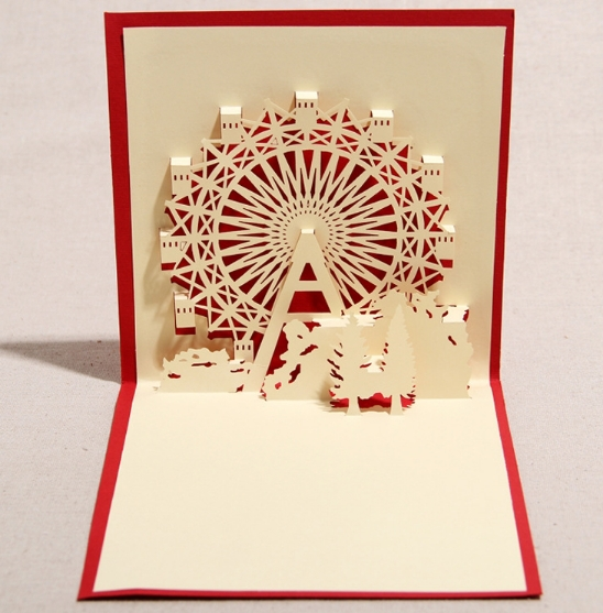 5pcs/lot,3D pop up card,DIY drawing, Ferris wheel design,Card for