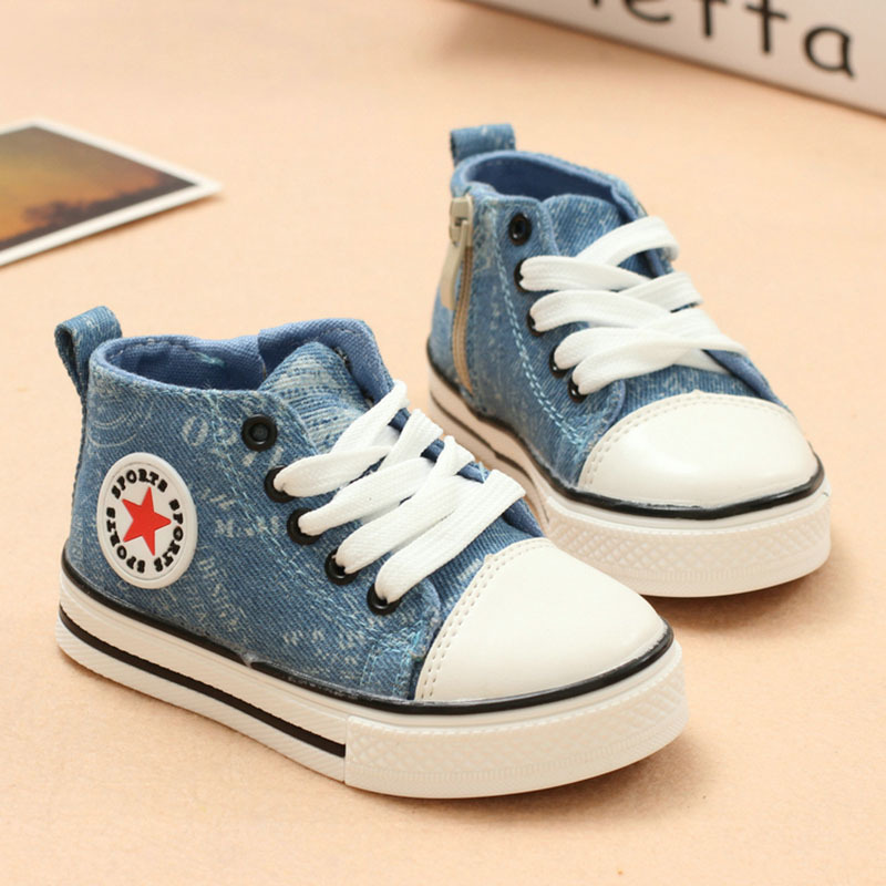 Hot 2015 New Arrival Kids Brand Sneakers Girls High Top Denim Canvas Shoes For Children Boys Lace-up Sport Running Shoes(China (Mainland))
