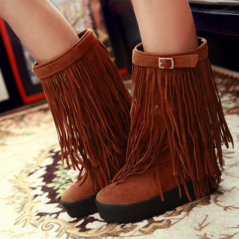 2015 Winter Autumn New Tassel Buckle Fashion boots Women Slip-On Mid-Calf Boots Fashion Breath Mid-Calf Shoes Size 34-39 R598<br><br>Aliexpress