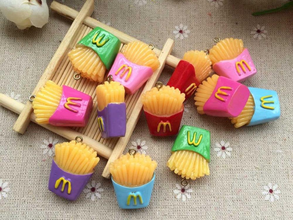 Free shipping! 3 d resin McDonald's fries , convex circular 30 PC phone DIY Decorative accessories , resin pendant(China (Mainland))