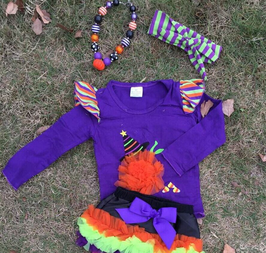 WHOLESALE purple set halloween outfits Girl Boutique clothes witch ruffled top pant set with necklace and headband(China (Mainland))