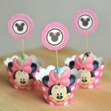 Girls Mouse Cupcake Wrappers, Cupcake Wrapper and Toppers Decoration Birthday Party Decorations Kids Event Party Supplies