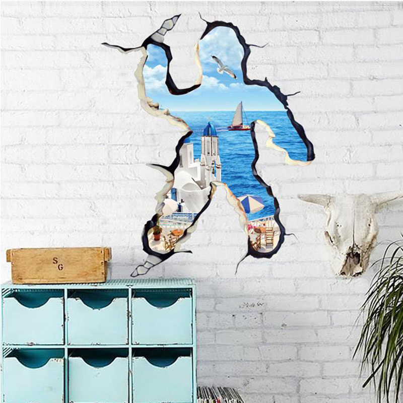 New 3D DIY Removable Vinly Wall Stickers For Kids Room Bedroom Wall Decals Nautical Decor Personalized Creative Figure Poster(China (Mainland))