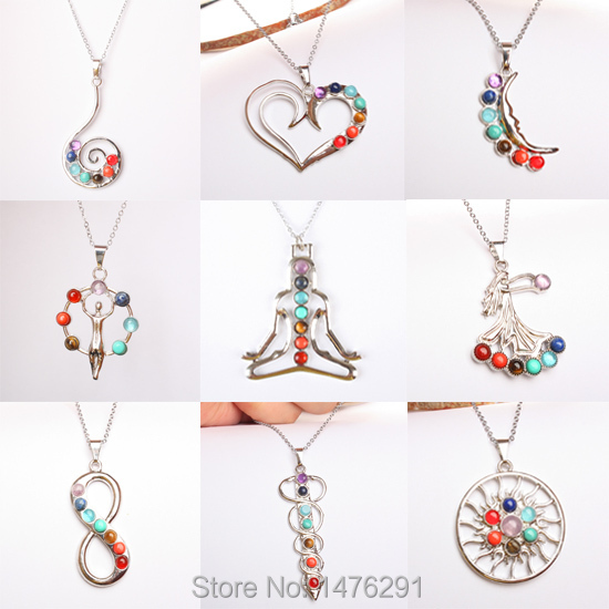 Intriguing Many kinds Seven colors of style of natural crystal zinc alloy pendant 1PCS(China (Mainland))