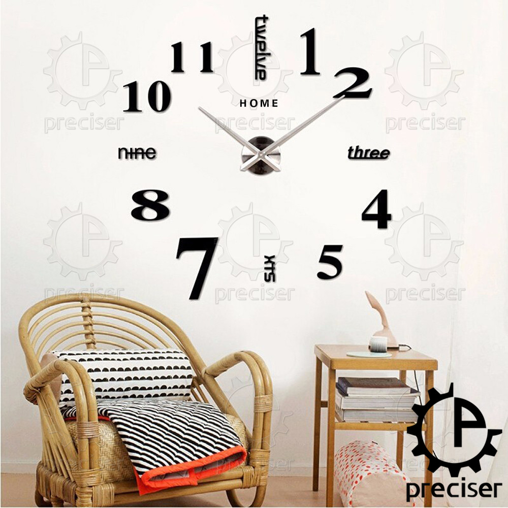 big wall clocks watch art home decoration hours 3d black sti