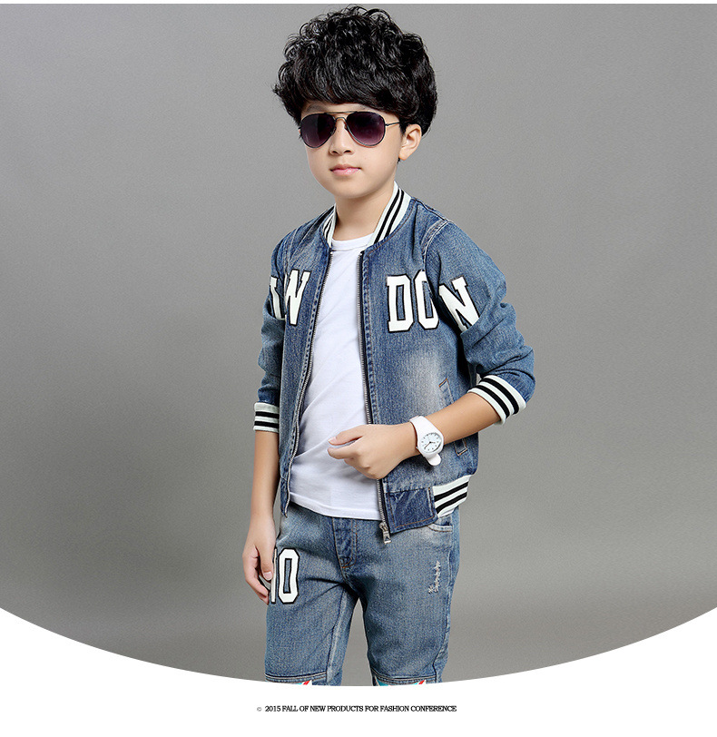 Kids 2016 spring models \ fashion letters boys and girls \ Union Jack \ cowboy suit(China (Mainland))