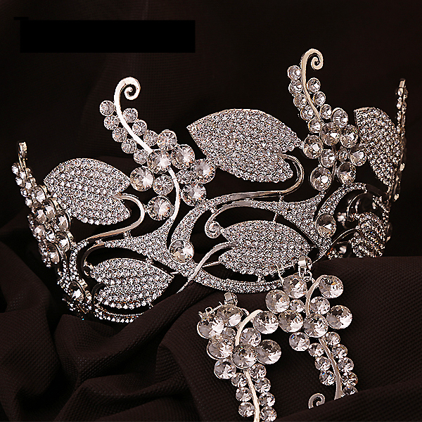 2015 New Arrival Chic Regal Showy Vintage Special 18K Gold Plated Clear Rhinestones Royal Crowns For Wedding Prom Parties