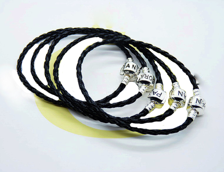 Leather Bracelets -ALB6 925 silver BLACK leather rope chain women lovers sterling jewelry - Ka Dina Jewelry Co., LTD. store