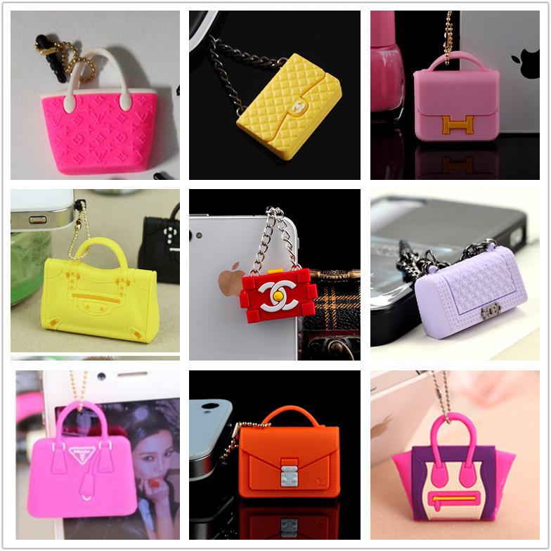 $15 Free Shipping Hot Sales Kpop Designer Brand Women Bag Ear Jack Anti Dust Plug for Cell Phone/Handbag earphones Cap 16 Style(China (Mainland))