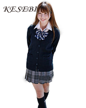 Kesebi Winter Japanese Style Female Long Sleeve V-neck Sweaters Students School Uniforms Girl Women Single Breasted Cardigans(China (Mainland))