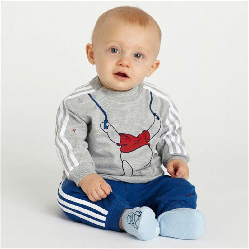 Retail baby suit baby boy suit outfits: grey long-sleeved top + striped blue pants/ Made of cotton/ Sport set Boy suit(China (Mainland))