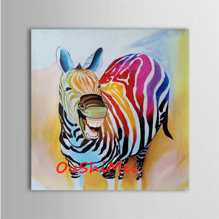 zebra wohnzimmer:Funny Animal Oil Paintings On Canvas