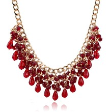 Bohemian Statement Necklace For Women Natural Stone Gold Crystal Ethnic Red Ruby Jewelry Maxi Bijouterie Collier