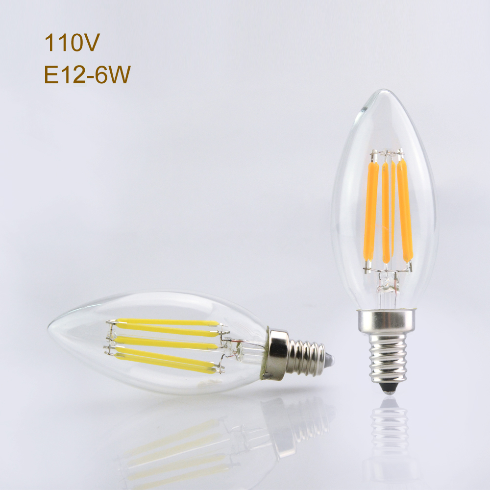 E12 110V LED Filament Light Clear Glass Dimmeable Bulb Lamp 2W 4W 6W Real Power Chandelier Crystal Lighting For Home Art Decor<br><br>Aliexpress