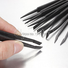 Best Promotion New Arrival Portable Black Straight Bend Anti-static Plastic Tweezer Heat Resistant Repair Tool