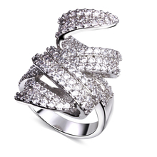 Platinum plated rings 2015 Top Finger Ring Real 18K Gold /Platinum Plated With clear Cubic Zircon Wide Ring Fashion Jewelry(China (Mainland))