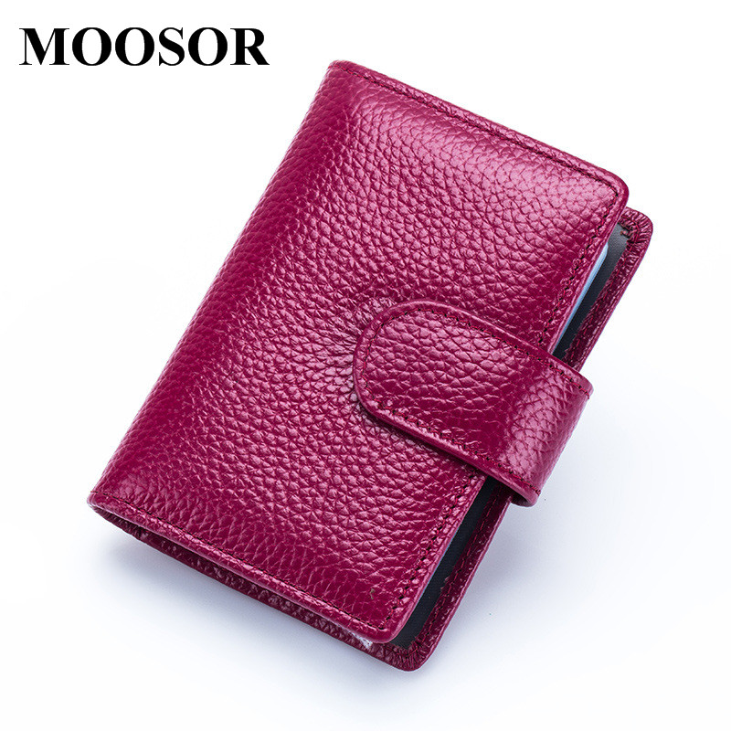 2017 New Genuine Leather Women Men ID Card Holder Card Wallet Purse Credit Card Business Card Holder Protector Organizer DC174