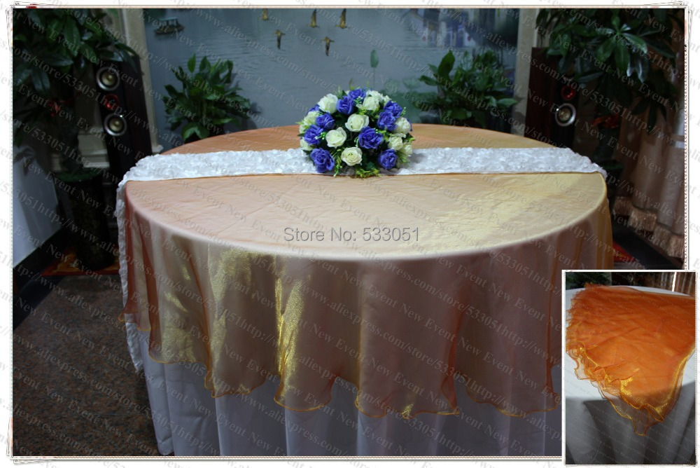210cm Round NO.30 Orange Color Organza Table Overlay/Table Cover/Tablecloth For Wedding Party Home Hotel Banquet Decorations(China (Mainland))