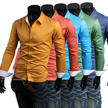 MOST sale well wholesale men hit the color modification shirt candy color solid color casual special cuff men's shirts discount(China (Mainland))