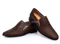 Free hot selling Mens dress formal hollow flat woven leather close toe casual shoes 3 colors