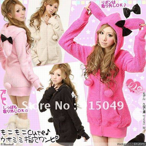Winter Women rabbit Plush cardigan sweater jacket