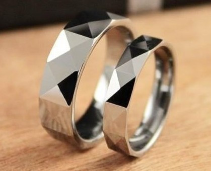 Scratching Light Flash Tungsten Steel Glamour Couple Love Promise  Valentine's Day Ring