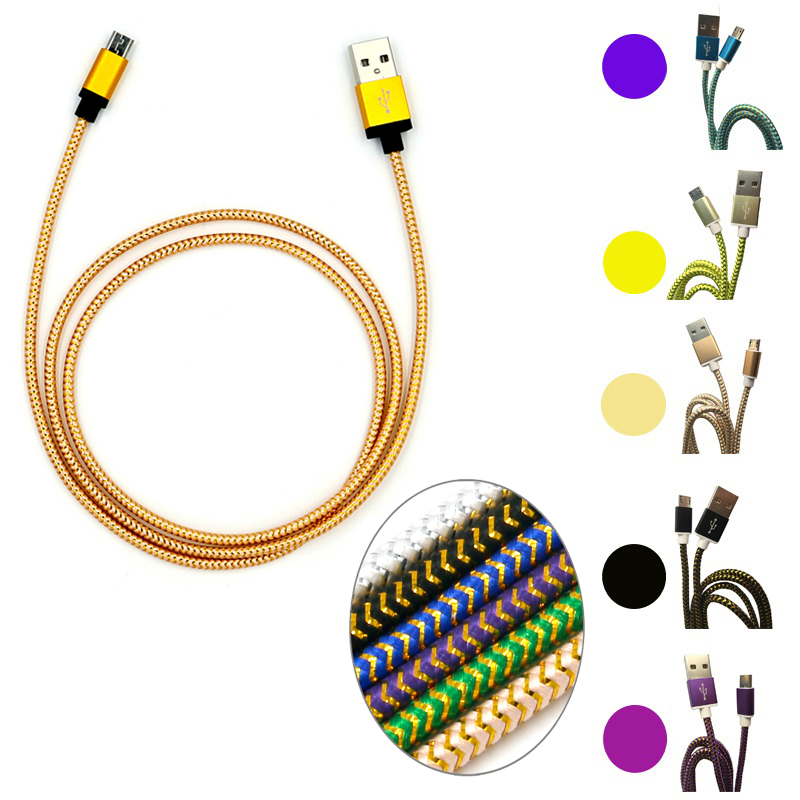 High Quality 1M Micro USB V8 Charging Cable / Type C to A Metal Braided Cord Fabric Charger Cable for iPhone Samsung HTC Android(China (Mainland))