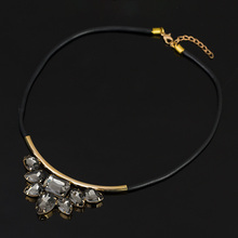 Exquisite Rhinestone Necklace 2015 Wholesale Newest Fashion Cortex Chain Collar Necklace Jewelry(China (Mainland))