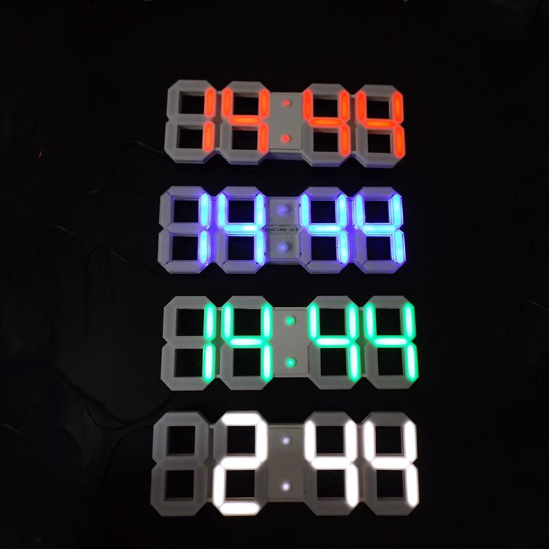 Large Modern Design Digital Led Wall Clock Big Creative Vintage Watch Home Decoration Decor Alarm Temperature 3d White Gift