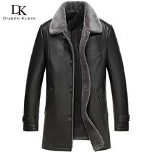 2016 New Dusen Klein Men's leather Jacket wool interior Genuine sheepskin wool collar Middle long Designer male coat 61Z16017(China (Mainland))