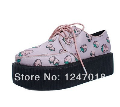 2016 Women's Ladies HARAJUKU Pink Strawberry Print Creepers Shoes Spring New Fashion Brand Punk Flat Platform Lace-Up shoes - LOVE YC Store store