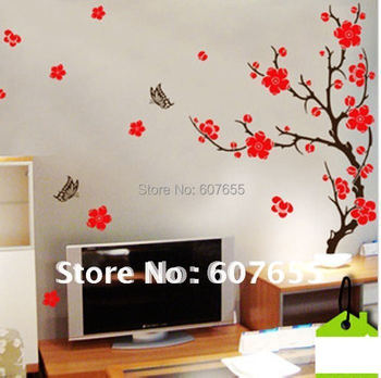 140CM*30CM,Free shipping!10pc/lot,wall decoration stick/room stick/house sticker,peach blossom wall sticker