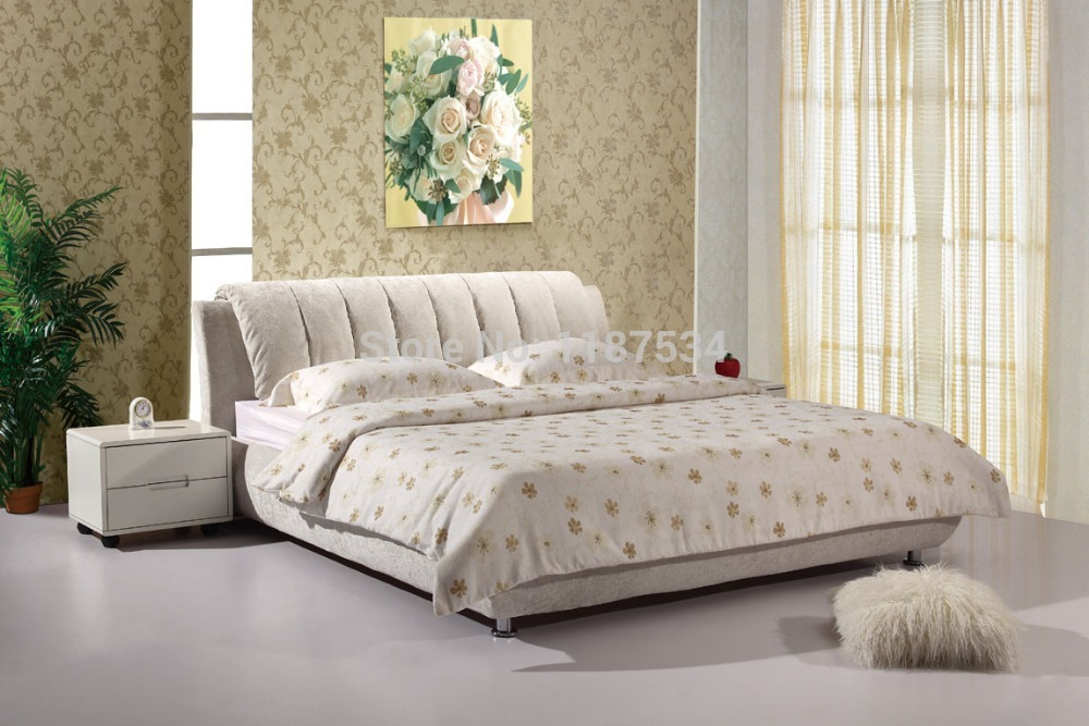 Luxury bedroom furniture bed frame king size bed fabric for Designer king size beds