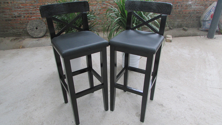 Black bar stool pine charcoal leather seat high retro leg(China (Mainland))