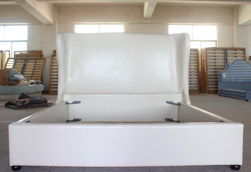 Esteemed White Leather General Use Fabric Bed Of Dubai Luxury Style For Home Furniture In