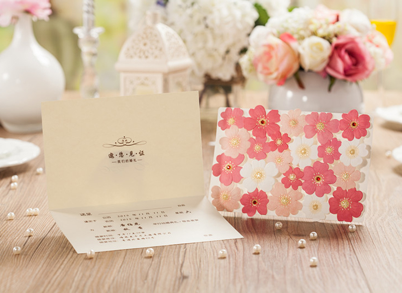 100pcs/lot Laser Cut Wedding Invitations Free Printing Inner Sheet Flower Invitation Card for Wedding Supplies Casamento CW5135(China (Mainland))