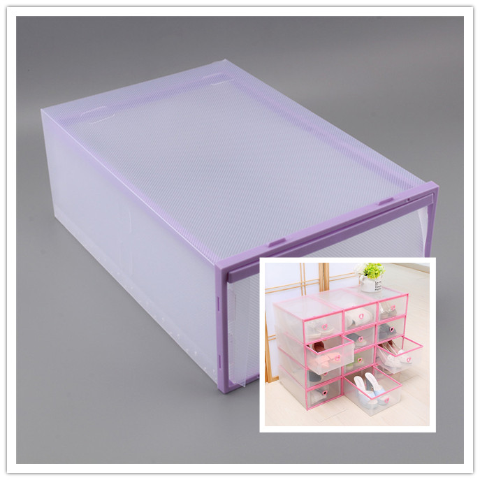 Clear Transparent Drawer Case Plastic Shoe Boxes Storage Organizer Stackable Box(China (Mainland))