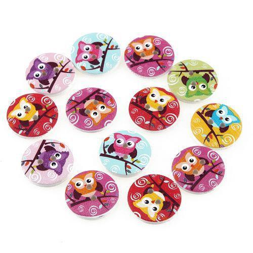 100pcs New Owl Design 2 Holes Wooden Buttons Sewing Buttons Craft Scrapbooking Clothing Accessories 111794