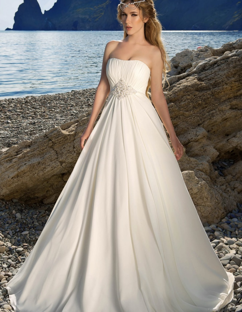 Bridal Gowns Strapless Simple Long Bohemian Chiffon Cheap